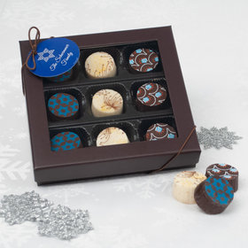 Hanukkah Belgian Chocolate Truffles Gift Box (9pc)