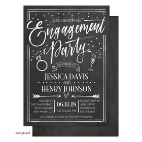 Bonnie Marcus Collection Personalized Chalkboard Whimsy Engagement Party Invitation