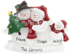 Personalized Snow Family of 3 with Tree