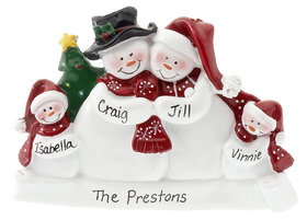 Personalized Snow Family of 4 with Tree