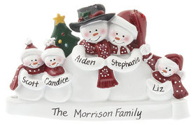 Personalized Snow Family of 5 with Tree