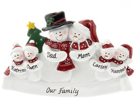 Personalized Snow Family of 6 with Tree