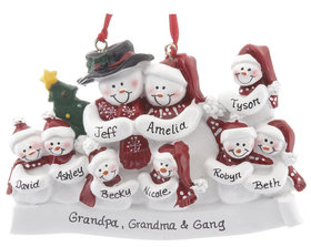 Personalized Snow Family of 9 with Tree