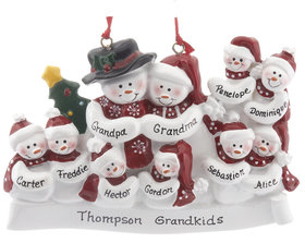 Personalized Snow Family of 10 with Tree