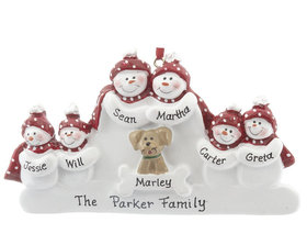Personalized Snowman Family of 6 with Dog