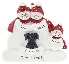 Personalized Snowman Family of 3 with Black Dog
