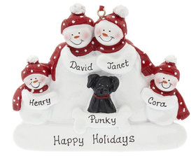 Personalized Snowman Family of 4 with Black Dog