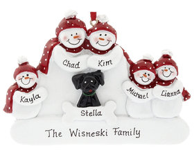Personalized Snowman Family of 5 with Black Dog