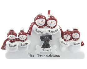 Personalized Snowman Family of 6 with Black Dog