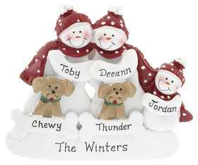 Personalized Snowman Family of 3 with 2 Dogs