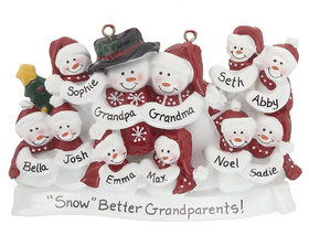 Personalized Snow Family of 11 with Tree