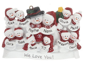 Personalized Snow Family of 12 with Tree