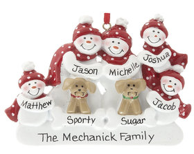 Personalized Snowman Family of 5 with 2 Dogs