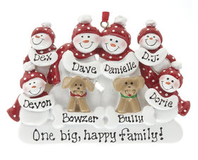 Personalized Snowman Family of 6 with 2 Dogs