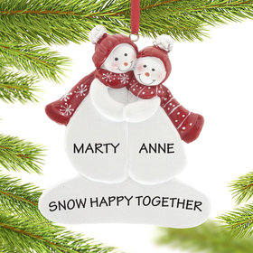 Personalized Snow Couple Wearing Hats