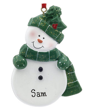 Personalized Snowman with Green Scarf and Hat