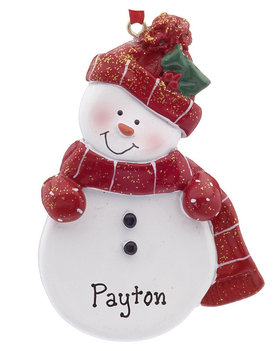 Personalized Snowman with Red Scarf and Hat