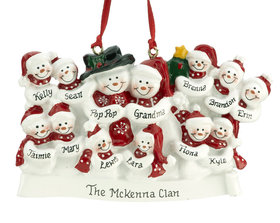 Personalized Snow Family of 13 with Tree