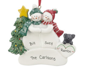 Personalized Snow Couple with Black Dog