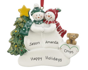 Personalized Snow Couple with Tan Dog