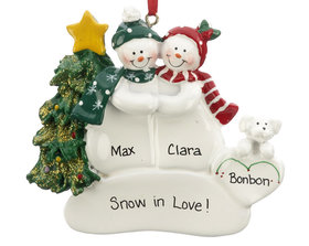 Personalized Snow Couple with White Dog