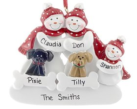 Personalized Snow Family of 3 with 2 Dogs (Black & Tan)