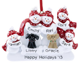 Personalized Snow Family of 5 with 2 Dogs (Black & Tan)