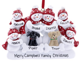 Personalized Snow Family of 6 with 2 Dogs (Black & Tan)