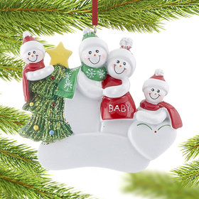 Pregnant Snow Couple with 2 Children