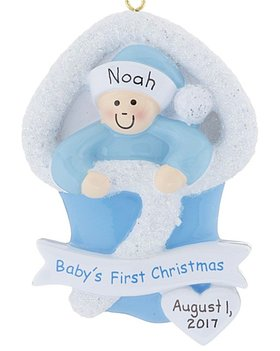 Personalized Baby's First Christmas Boy Bunting