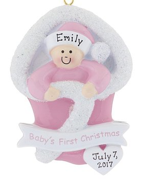 Personalized Baby's First Christmas Girl Bunting