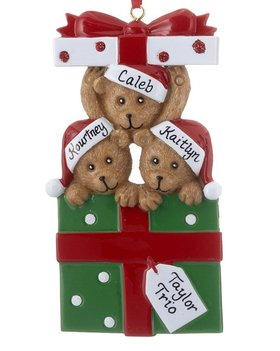 Personalized Bear Present Family of 3
