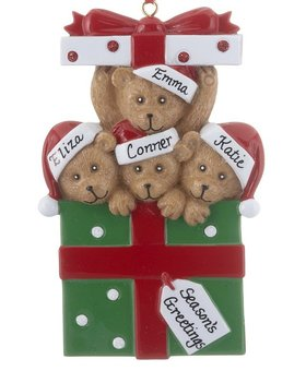 Personalized Bear Present Family of 4
