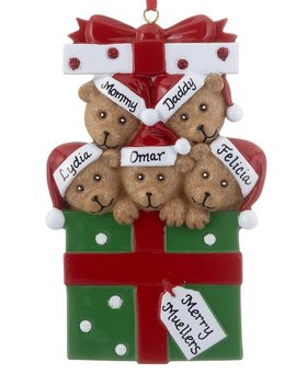 Personalized Bear Present Family of 5