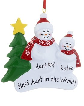 Personalized Single Adult Snowman with 1 Child