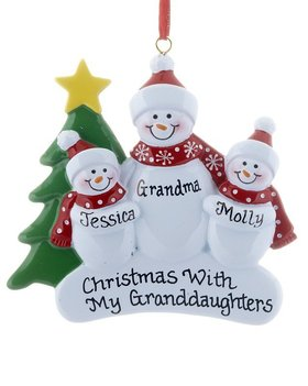 Personalized Single Adult Snowman with 2 Children