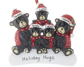 Personalized Sitting Black Bear Family of 5