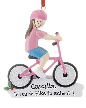 Personalized Girl Riding Pink Bike