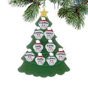 Personalized Green Tree Snowman Faces 9