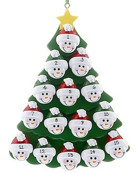 Personalized Green Tree Snowman Faces 15