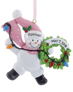 Personalized Snowman Wreath (Pink)