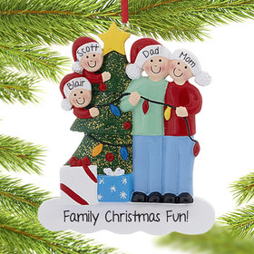 Personalized Family of 4 with Christmas Lights