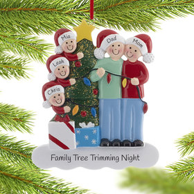 Personalized Family of 5 with Christmas Lights