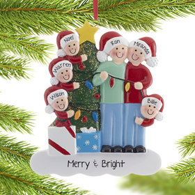 Personalized Family of 6 with Christmas Lights