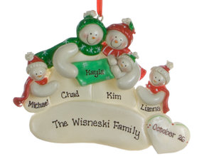 Personalized Snowman Family of 4 with New Baby