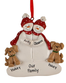 Personalized Snowman Couple with 2 Tan Dogs