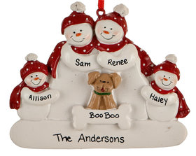 Personalized Snowman Family of 4 with Dog