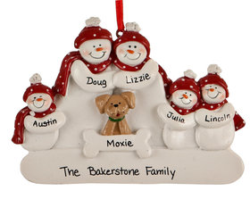 Personalized Snowman Family of 5 with Dog
