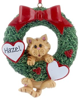 Personalized Cat Wreath (Orange Tabby)