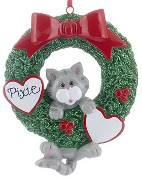 Personalized Cat Wreath (Grey Tabby)